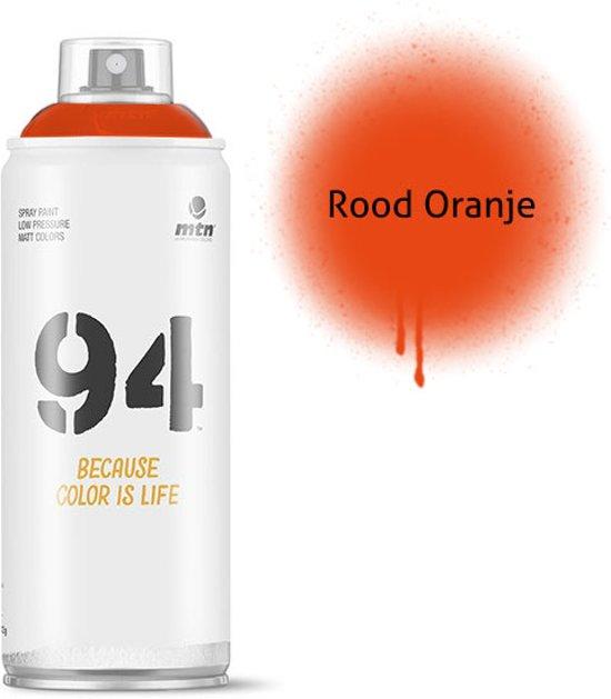 MTN94 Rood oranje spuitbus - 400ml lage druk en matte afwerking spuitverf - Graffiti verf voor vele doeleinden zoals voor diy, klussen, graffiti, hobby en kunst