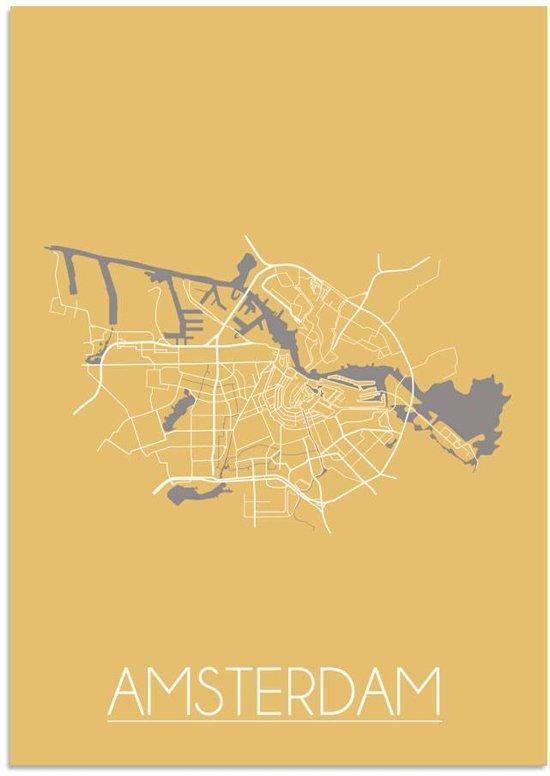 Plattegrond Amsterdam Stadskaart poster DesignClaud - Geel - A4 poster