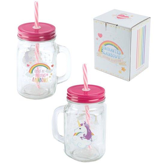 Drinkbeker eenhoorn met rietje / Unicorn beker glas
