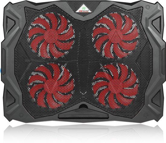 Coolertek Laptop Cooling Stand   4 Ventilatoren   Regelbare ventilator snelheid  USB-voeding   Rood Verlicht   max 17 inch (Zwart)