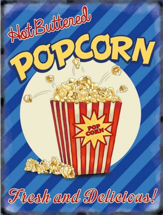 Grote emaille muurplaat Popcorn 30x40cm
