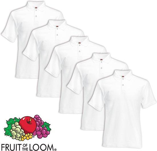 Fruit of the Loom poloshirt heren maat XL 5 st (wit)
