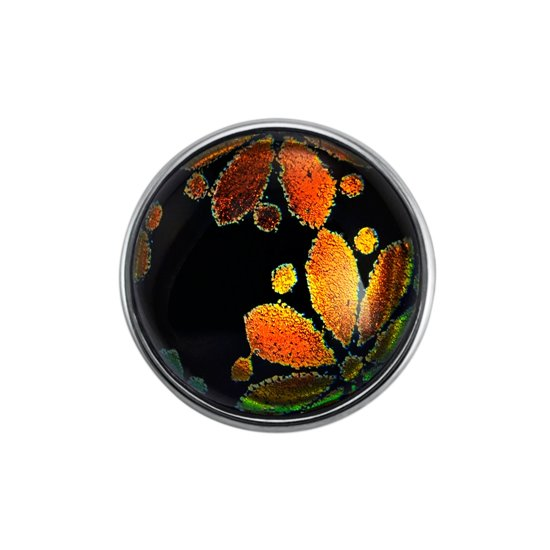 Quiges - Dames Click Button Drukknoop 18mm Metallic Bloem Multi - EBCM189