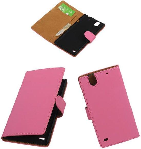 MP Case Roze booktype telefoonhoesje voor de Sony Xperia C4 in Bornival