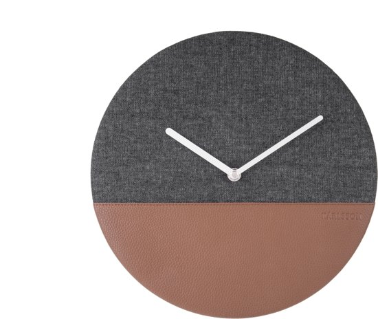 Wall Clock - Leather & Jeans Grey