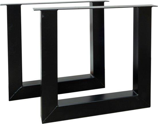 Tafelpoten Metaal Zwart.Stalen Zwarte U Vorm Metalen Tafelpoten 10 X 10 Cm Per Set