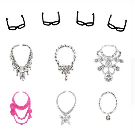 Modepoppenkleding - Set van 32 items - Poppenkleertjes - Geschikt voor modepoppen - Jurkjes, kettingen, brillen, schoenen, handtassen accessoires