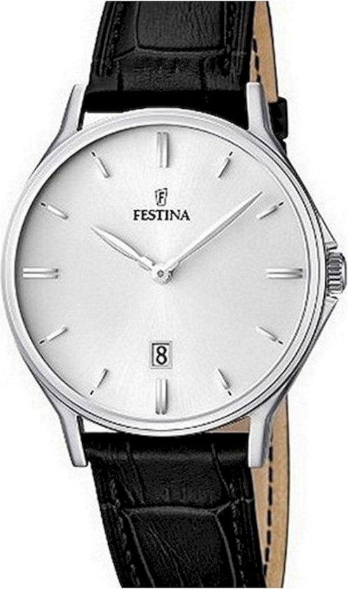 Festina F16745/2 Klassiek - Horloge- Staal - Zilverkleurig - 39 mm