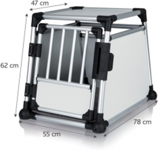 Trixie Transport Box Aluminium - Transportkooi - 55cm x 62cm x 78cm - Zilverkleurig/Zwart