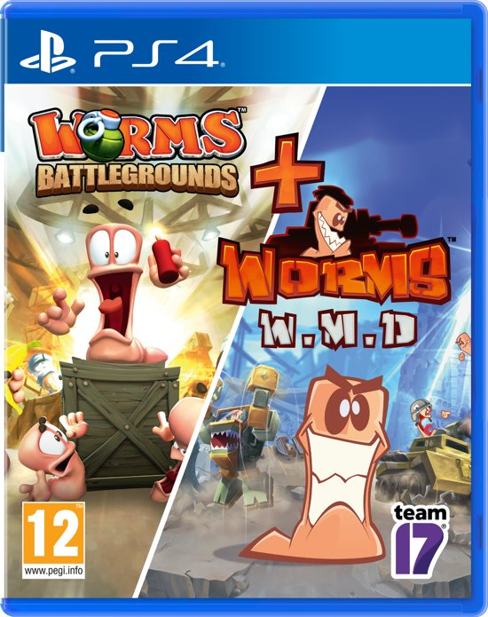 Cover van de game WORMS Double Pack - Worms Battlegrounds & Worms W.M.D - PS4