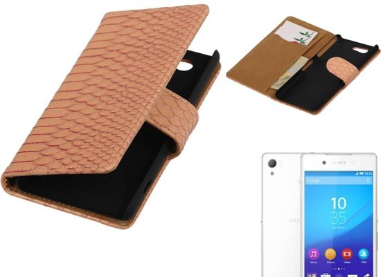 MP Case Snake Bookstyle Hoes voor Sony Xperia Z4 Compact Licht Roze in Harculo