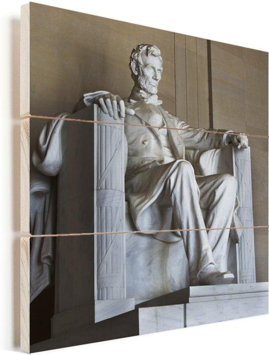 Het Lincoln Memorial van dichtbij in Amerika Vurenhout met planken 80x80 cm - Foto print op Hout (Wanddecoratie)