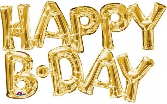 Goudkleurige Happy Birthday ballon - Feestdecoratievoorwerp