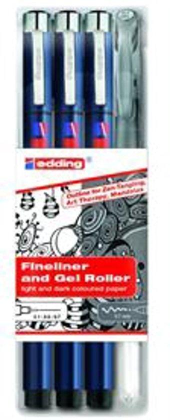 edding 1800 fineliners 0.25, 0.5 en 0.7 mm + edding 2185 gelroller zilver. Set van 4 stuks.