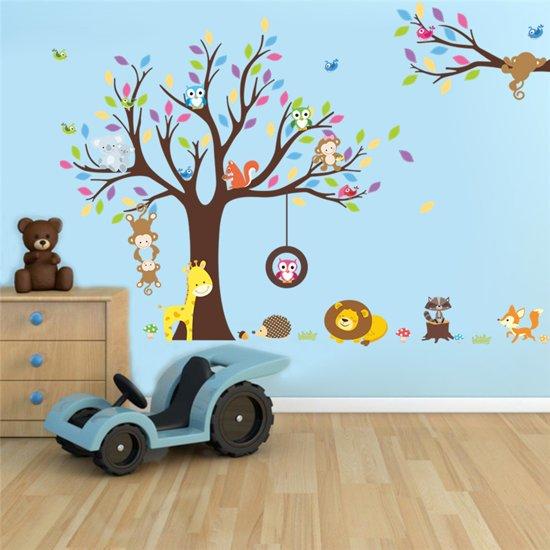 Decoratie Boom Kinderkamer.Bol Com Muursticker Diertjes In Boom Kleurrijk Groot