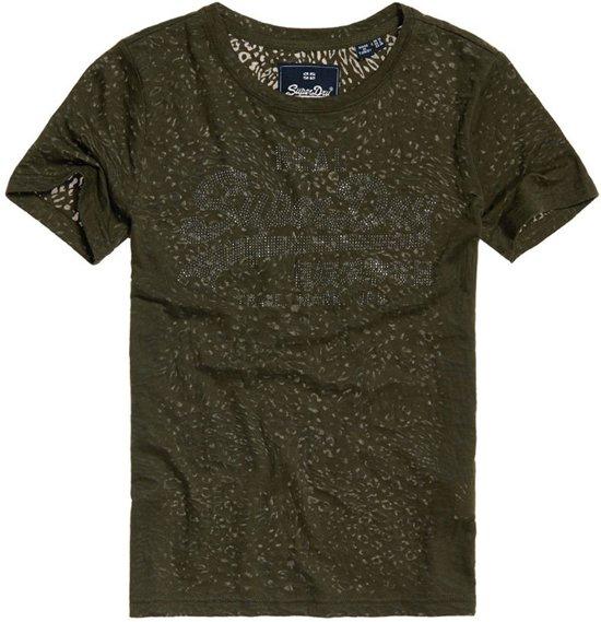 Superdry Vintage Logo Burnout Entry  Sportshirt - Maat L  - Vrouwen - donker groen