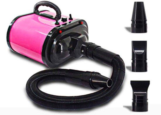 Buxibo - Hondenföhn - 500 W tot 3400 W - Inclusief 3 opzetstukken - Roze