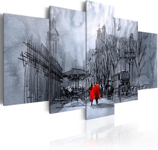 Schilderij - Wandeling door de stad , 5 luik