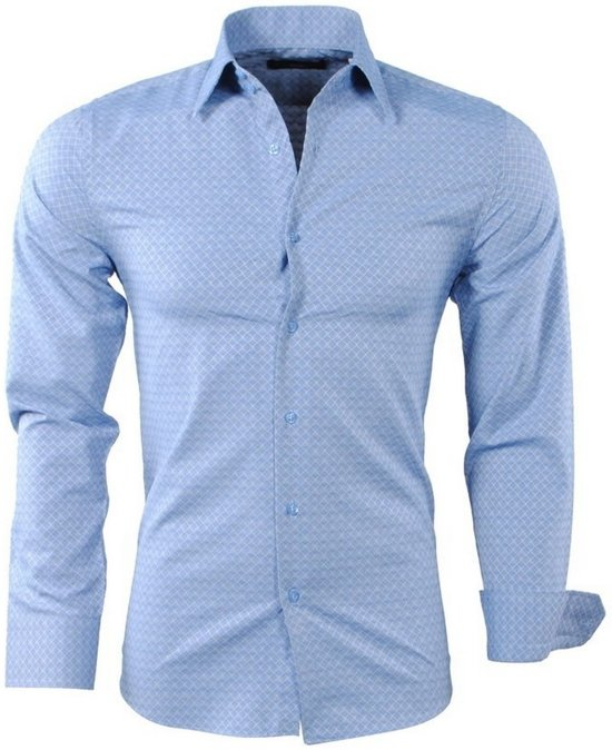 Geruit Overhemd Heren.Bol Com Montazinni Heren Overhemd Geruit Slim Fit Blauw
