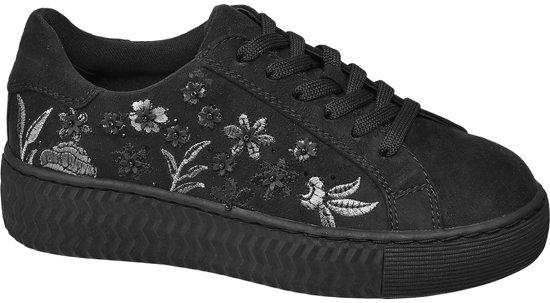 Graceland Kinderen Zwarte sneaker bloemen - Maat 32