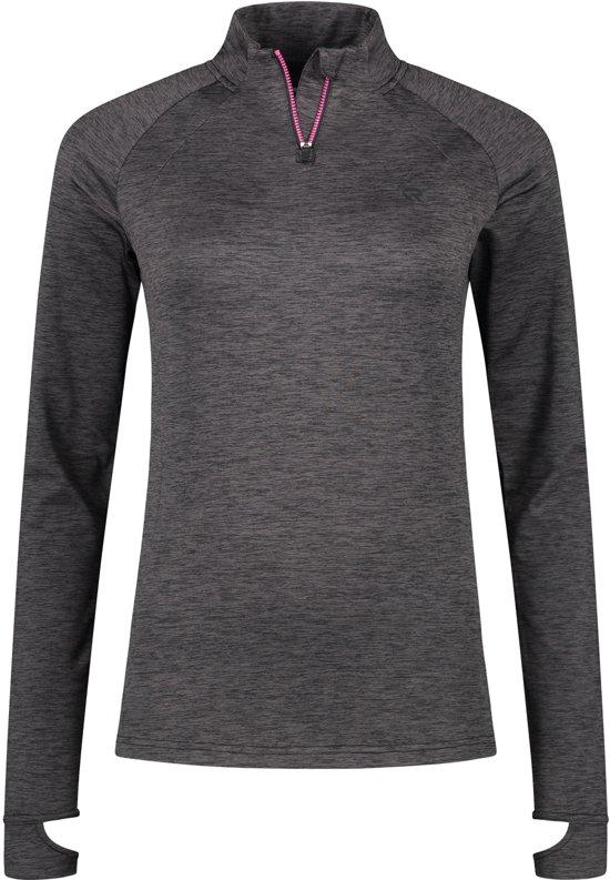 Redmax Dames trainingsshirt met lange mouwen 1/2 rits Dry-cool - Zwart space dye - M