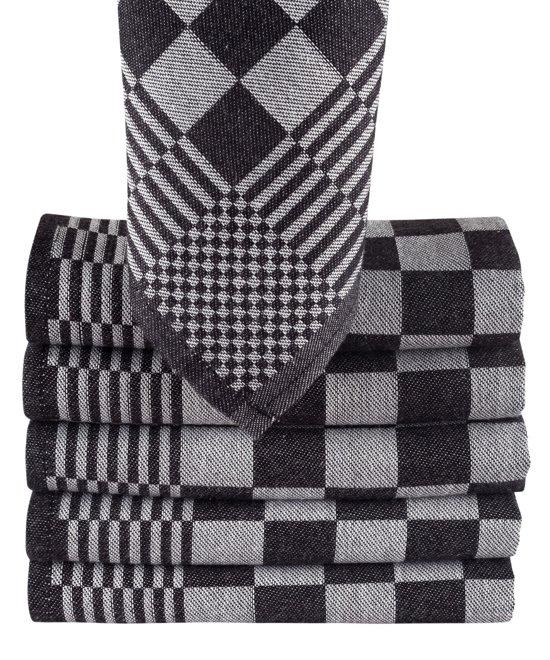 Theedoek Zwart Wit.Homee Blokdoeken Pompdoeken Theedoeken Zwart Wit Set Van 6 Stuks 65x65cm