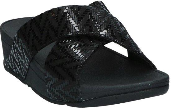 Zwarte FitFlop Lulu Chevron Suede Slippers Dames 37