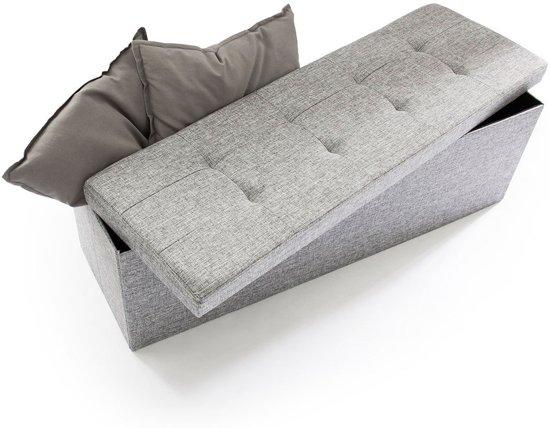 relaxdays Opvouwbare bank + opslag - Bankje linnen - Zitbank grijs of bruin - 114x38x38 cm