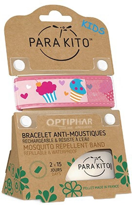 Parakito Kids Anti-Muggen Armband Pink Cupcakes + 2 navullingen