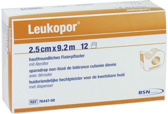 Leukopor, hechtpleister met dispenser 2,5cm x 9,2m, doosje 12 stuks