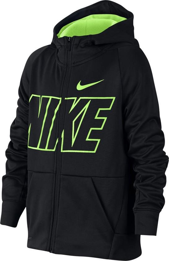 Nike B Thrma Hoodie Fz Gfx Sporttrui Jongens - Black/Volt