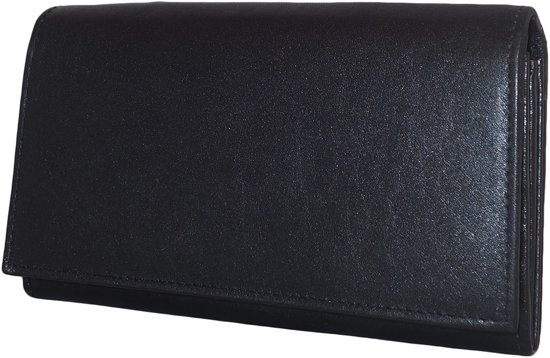 1f23661fdb9 bol.com | Leather Design Dames Overslag Portemonnee met Beugel Zwart