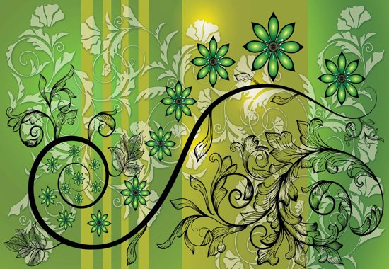 Fotobehang Flowers Floral Pattern | XL - 208cm x 146cm | 130g/m2 Vlies