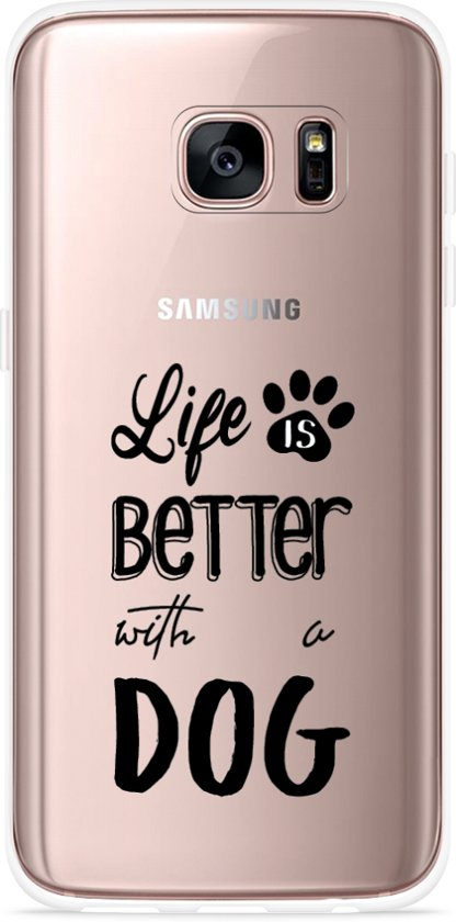 Galaxy S7 Hoesje Life Is Better With a Dog - zwart