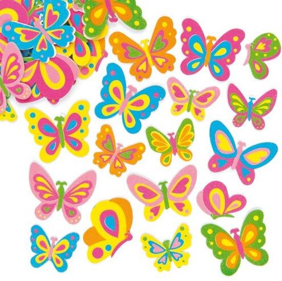 Foam stickers vlinder  (102 stuks per verpakking)