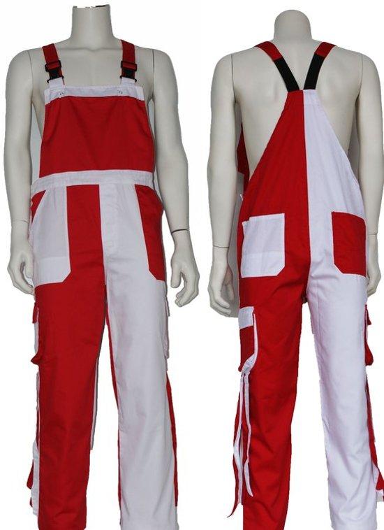 Yoworkwear Tuinbroek polyester/katoen rood-wit-franje maat 152