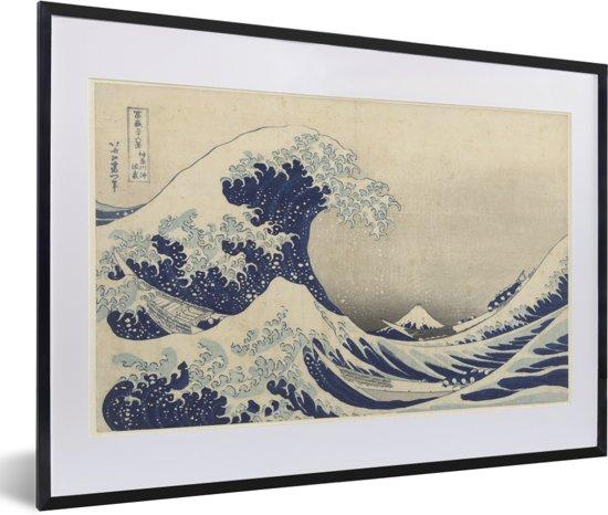 Grote Lijst Met Passepartout.Foto In Lijst De Grote Golf Bij Kanagawa Schilderij Van Katsushika Hokusai Fotolijst Zwart Met Witte Passe Partout 60x40 Cm Poster In Lijst
