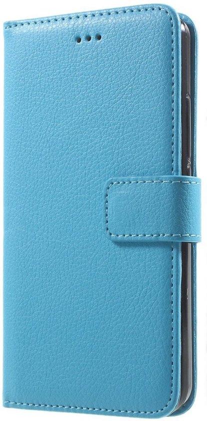 Shop4 - Huawei Y6 Hoesje - Wallet Case Lychee Licht Blauw in Embourg