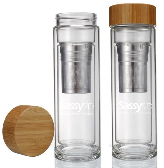 SassySip Design Thermosfles in Glas - Incl. Filter - Dubbelwandig - BPA vrij - Glas