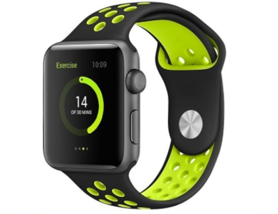 Apple Watch 42mm Sport Bandje Zwart-Geel – iWatch Series 1 2 Nike+ Sportband Black and Yellow