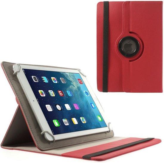 Shop4 - Huawei MediaPad M3 Lite 10 Hoes - Rotatie Cover Denim Rood in Nieuwland