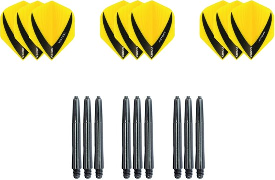 Dragon darts - Dartset - 3 sets V dart flights en 3 sets nylon darts shafts - 18 pcs - Geel - darts flights