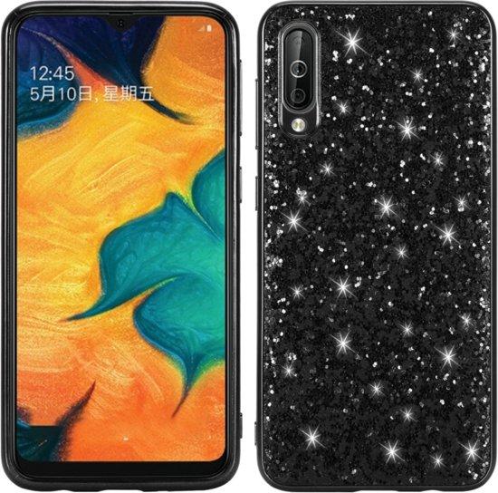 Let op type!! Glittery poeder schokbestendig TPU Case voor Galaxy A50 (zwart)