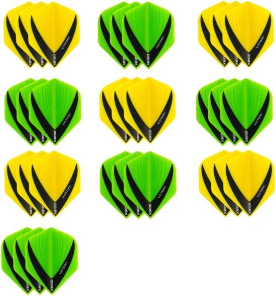 10 sets (30 stuks) - XS100 Vista flights - duo kleur pakket - Geel en Groen – flights - dartflights