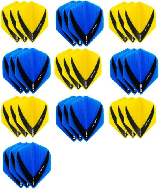 10 sets (30 stuks) - XS100 Vista flights - duo kleur pakket - Geel en Aqua/Blauw – flights - dartflights