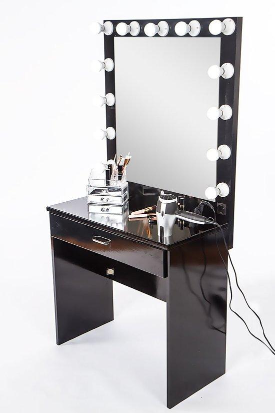 Hollywood kaptafel met licht kleur zwart - Hollywood spiegel lampen ...