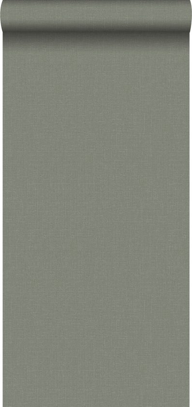 e6a6ada68f04f6 ESTAhome behang linnenstructuur vergrijsd olijfgroen