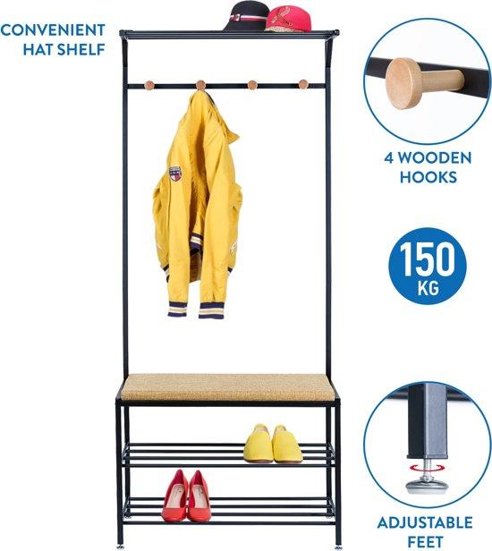 XL Staande Design Garderoberek Kapstok Rek Met Schoenenrek & Zitbank - Halbank Kapstok - Industriele Klerenhanger Hangrek