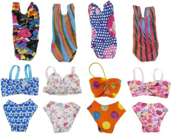 Poppenkleertjes - geschikt voor Barbie - set van 5 badkleding items - zwemkleding - badpak - bikini - zomer