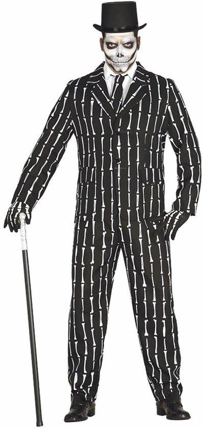 Kostuum Heren.Luxe 3 Delig Skeletten Kostuum Voor Heren M 48 50
